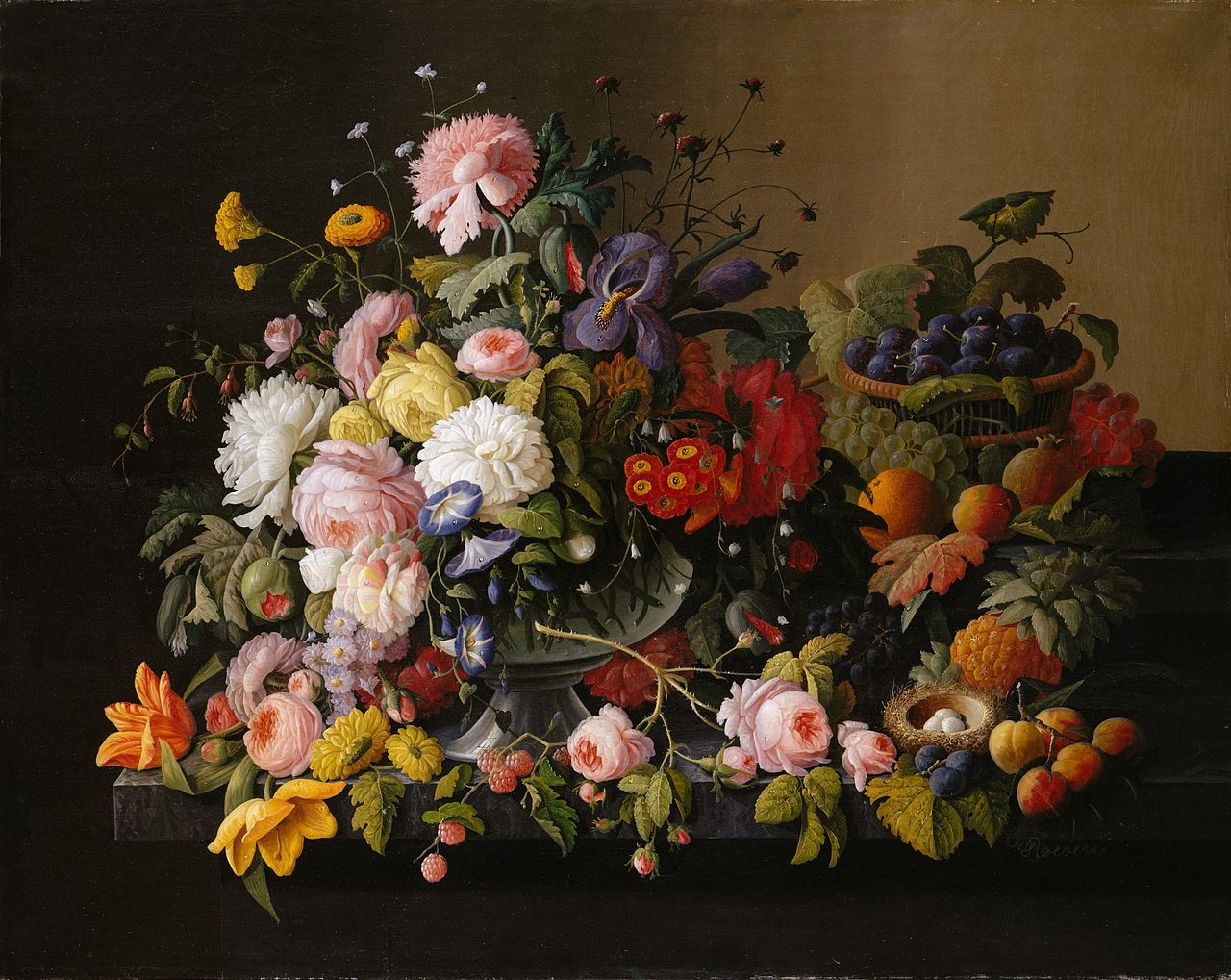 © Severin-Roesen-Still-Life-Flowers-and-Fruit